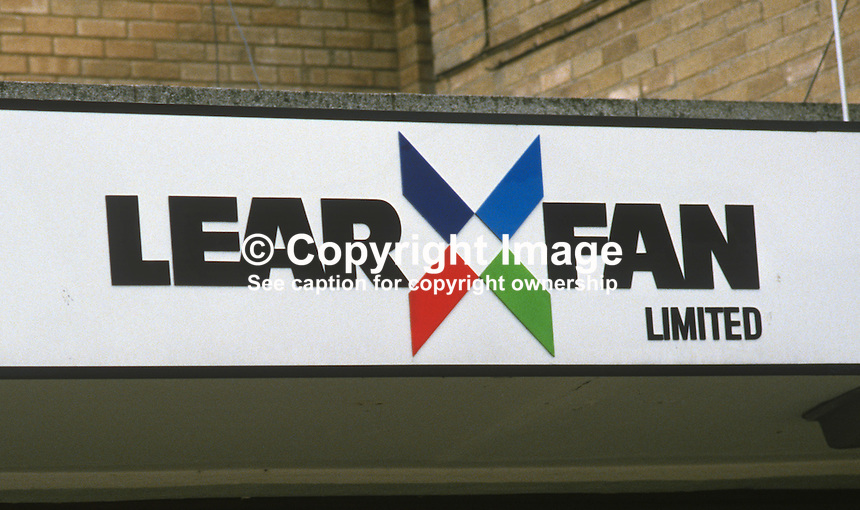 Lear Fan Limited, Belfast, N Ireland, UK, banner, logo, name plate, sign, 19840071logo..Copyright Image from Victor Patterson, 54 Dorchester Park, Belfast, UK, BT9 6RJ..Tel: +44 28 9066 1296.Mob: +44 7802 353836.Voicemail +44 20 8816 7153.Skype: victorpattersonbelfast.Email: victorpatterson@me.com.Email: victorpatterson@ireland.com (back-up)..IMPORTANT: If you wish to use this image or any other of my images please go to www.victorpatterson.com and click on the Terms & Conditions. Then contact me by email or phone with the reference number(s) of the image(s) concerned.