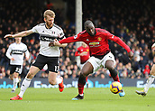 9th February 2019, Craven Cottage, London, England; EPL Premier League football, Fulham versus Manchester United; Romelu Lukaku of Manchester United being marked by Tim Ream of Fulham