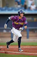 Charlotte Stone Crabs left fielder Miles Mastrobuoni (5) runs to first base during a game against the Palm Beach Cardinals on April 21, 2018 at Charlotte Sports Park in Port Charlotte, Florida.  Charlotte defeated Palm Beach 5-2.  (Mike Janes/Four Seam Images)