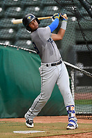 Second baseman Luis Carpio (18) of the Columbia Fireflies takes batting practice before a game against the Greenville Drive on Tuesday, June 13, 2017, at Fluor Field at the West End in Greenville, South Carolina. Greenville won, 5-4. (Tom Priddy/Four Seam Images)
