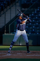 AZL Padres 1 Yerry Landinez (27) at bat during an Arizona League game against the AZL Angels on July 16, 2019 at Tempe Diablo Stadium in Tempe, Arizona. The AZL Padres 1 defeated the AZL Angels 3-1. (Zachary Lucy/Four Seam Images)