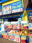 Pound shop seaside goods, Scarborough, Yorkshire, England
