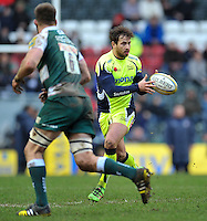 Danny Cipriani of Sale Sharks receives the ball. Aviva Premiership match, between Leicester Tigers and Sale Sharks on February 6, 2016 at Welford Road in Leicester, England. Photo by: Patrick Khachfe / JMP
