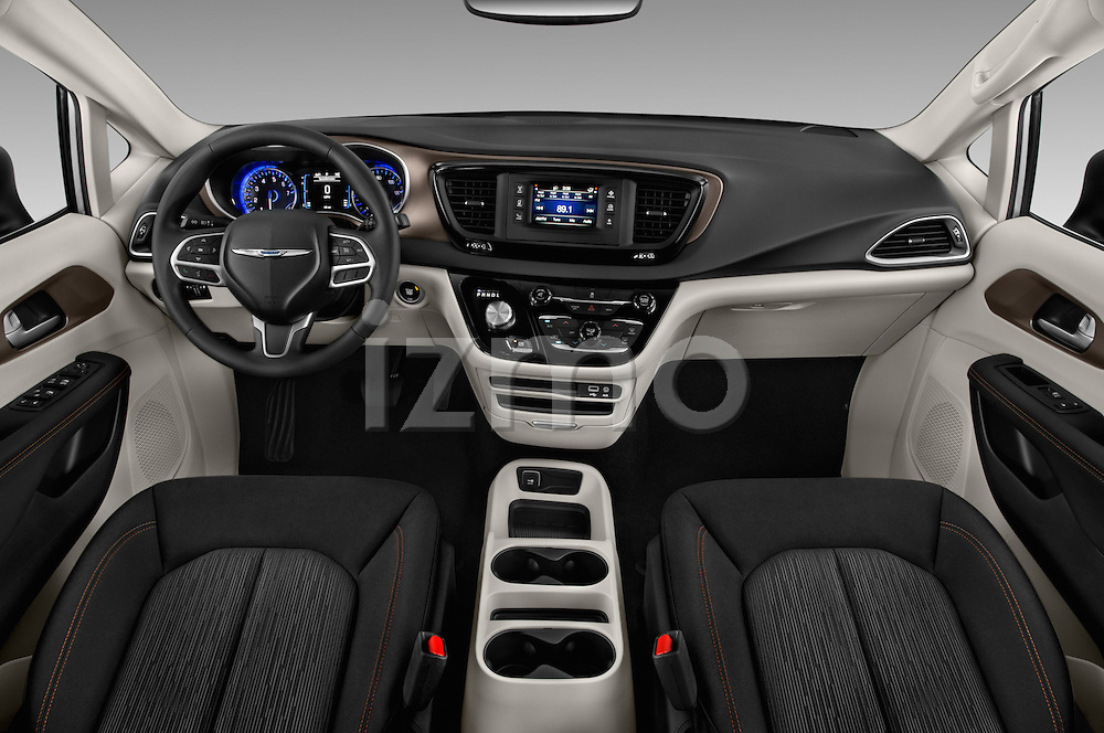 Stock photo of straight dashboard view of 2017 Chrysler Pacifica LX 5 Door Minivan Dashboard