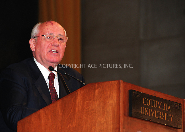 "Former President of USSR, MIKHAIL GORBACHEV made an appearance at Columbia University in New York to deliver his lecture ""Russia: Today and the Future."" March 11, 2002.  © 2002 by Alecsey Boldeskul/NY Photo Press.   ..*PAY-PER-USE*      ....NY Photo Press:  ..phone (646) 267-6913;   ..e-mail: info@nyphotopress.com"