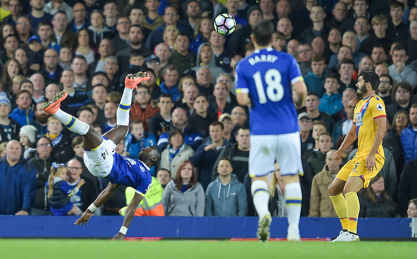 Everton's Yannick Bolasie attempts a shot on goal from an overhead kick<br /> <br /> Photographer Terry Donnelly/CameraSport<br /> <br /> The Premier League - Everton v Crystal Palace - Friday 30th September 2016 - Goodison Park - Liverpool<br /> <br /> World Copyright &copy; 2016 CameraSport. All rights reserved. 43 Linden Ave. Countesthorpe. Leicester. England. LE8 5PG - Tel: +44 (0) 116 277 4147 - admin@camerasport.com - www.camerasport.com