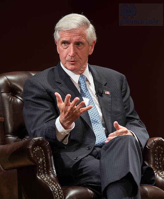 """October 4, 2017; Andrew Card, chief of staff to President George W. Bush, discusses U.S. foreign policy during the Notre Dame Forum: """"Views from the West Wing: How Global Trends Shape U.S. Foreign Policy,"""" held in the Leighton Concert Hall of the DeBartolo Performing Arts Center. (Photo by Barbara Johnston/University of Notre Dame)"""
