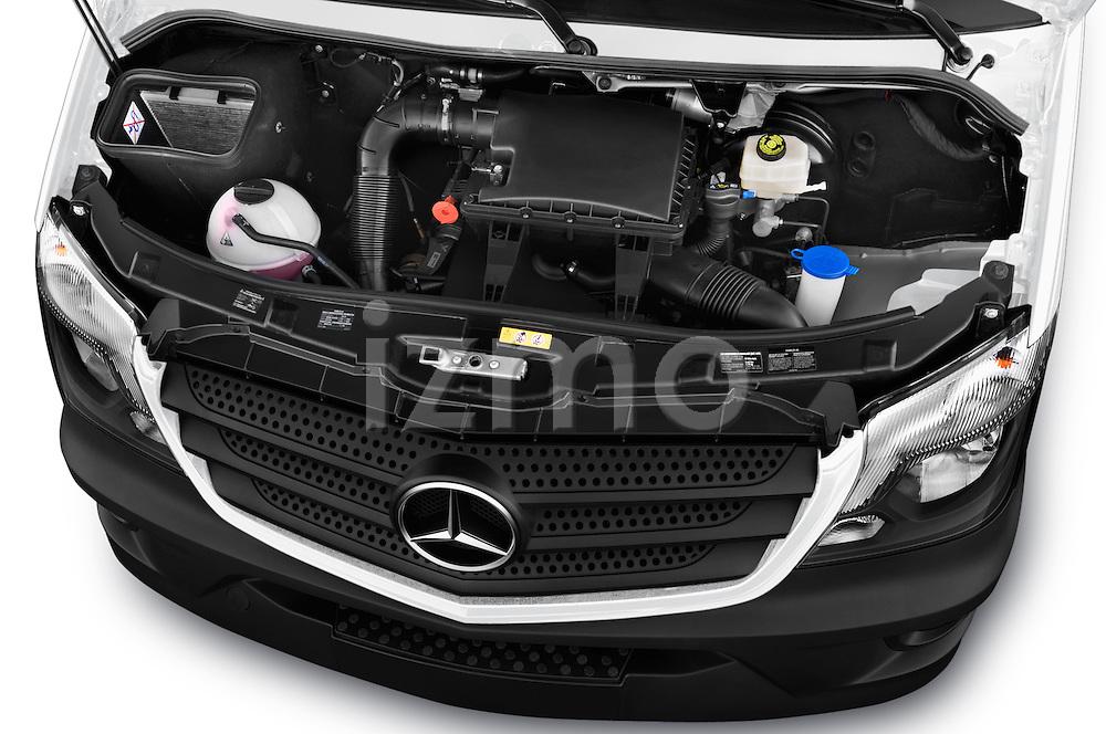 Car Stock 2016 Mercedes Benz Sprinter-Crew-Van 2500-170-WB-High-Roof 4 Door Combi Engine  high angle detail view