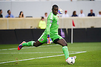 DC United goalkeeper Bill Hamid (28). The New York Red Bulls defeated DC United 3-2 during a Major League Soccer (MLS) match at Red Bull Arena in Harrison, NJ, on June 24, 2012.