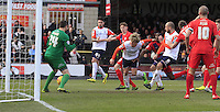 Cameron McGeehan of Luton Town scores the opening goal during the Sky Bet League 2 match between York City and Luton Town at Bootham Crescent, York, England on 27 February 2016. Photo by Liam Smith.