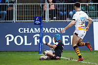 Zach Mercer of Bath Rugby scores a try in the first half. Heineken Champions Cup match, between Bath Rugby and Wasps on January 12, 2019 at the Recreation Ground in Bath, England. Photo by: Patrick Khachfe / Onside Images