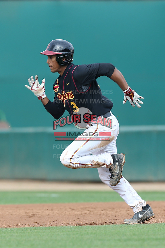 Dante Flores #3 of the USC Trojans runs the bases during a game against the Cal Poly Mustangs at Dedeaux Field on March 2, 2014 in Los Angeles, California. Cal Poly defeated USC, 5-1. (Larry Goren/Four Seam Images)