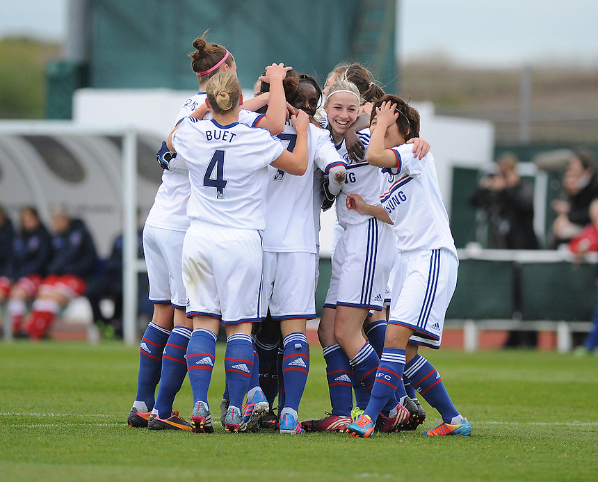 Chelsea Ladies' Yuki Ogimi celebrates scoring the opening goal with team mates<br /> <br /> Photo by Ashley Crowden/CameraSport<br /> <br /> Football - FA Woman's Super League - Bristol Academy Woman v Chelsea Ladies FC - Thursday 17th April 2014 - Stoke Gifford Stadium - Bristol<br /> <br />  &copy; CameraSport - 43 Linden Ave. Countesthorpe. Leicester. England. LE8 5PG - Tel: +44 (0) 116 277 4147 - admin@camerasport.com - www.camerasport.com