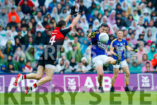 Paul Murphy Kerry in action against Keith Higgins Mayo in the All Ireland Semi Final in Croke Park on Sunday.