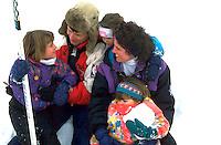 Family 39 through 4 on ice skating expedition at Bracket Park. Minneapolis Minnesota USA