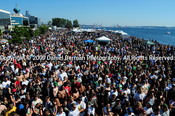 A general view of the crowd during day 2 of Hempfest at Myrtle Edwards Park Sunday August 16, 2009, as seen from Share Parker Memorial Main Stage. Photo by Daniel Berman/SeattlePI.comduring day 2 of Hempfest at Myrtle Edwards Park Sunday August 16, 2009. Photo by Daniel Berman/SeattlePI.com