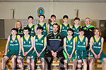 The Mercy Mounthawk U15 Basketball team who qualified for the All Ireland basketball series. Seated l-r, Daniel Bowler, Brian Godley, Mikey McCarthy, John Dowling, Darragh O&rsquo;Connor, John Feely and Coren Hughes.<br /> Standing l-r, Lindsay Moriarty (Teacher), Tim Pollmenn-Daamen, Odhran Pierce, Sean Collins, Sean Pollmenn-Daamen, Paddy O&rsquo;Sullivan and Jimmy Diggins.