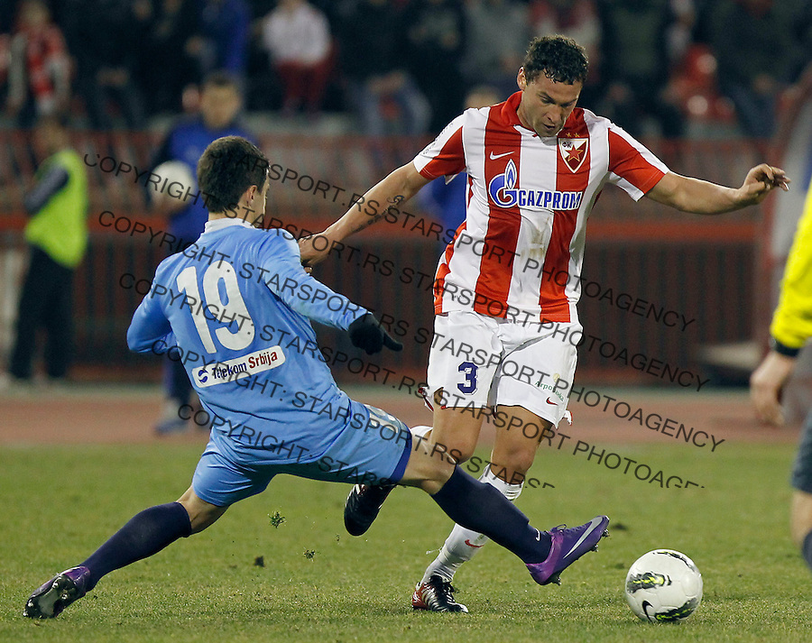 Fudbal, Jelen super liga, sezona 2011/12.Crvena Zvezda VS. Spartak-Zlatibor Voda (Subotica).Dusko Tosic, right and Fahrudin Djurdjevic.Belgrade, 03.03.2012..foto: Srdjan Stevanovic/Starsportphoto ©