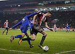 Chris Basham of Sheffield Utd gets past Joe Bennet of Cardiff City during the Championship match at Bramall Lane Stadium, Sheffield. Picture date 02nd April, 2018. Picture credit should read: Simon Bellis/Sportimage