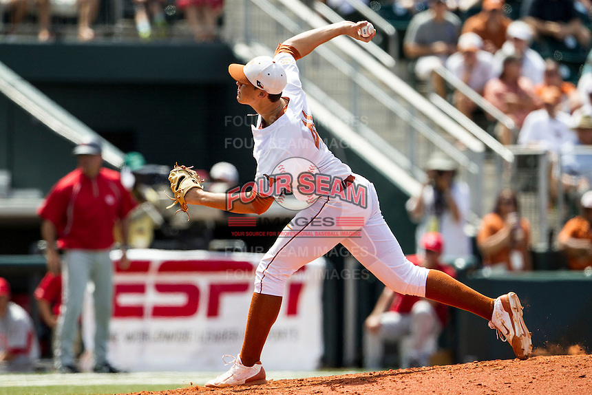 Texas Longhorns pitcher Morgan Cooper (41) delivers a pitch to the plate during the NCAA Super Regional baseball game against the Houston Cougars on June 7, 2014 at UFCU Disch–Falk Field in Austin, Texas. The Longhorns are headed to the College World Series after they defeated the Cougars 4-0 in Game 2 of the NCAA Super Regional. (Andrew Woolley/Four Seam Images)