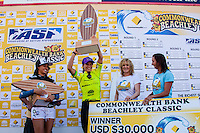 "DEE WHY, Sydney NSW/AUS (Saturday, April 21, 2012) Courtney Conlogue (USA), Layne Beachley (AUS) and Malia Manuel (HAW).  The Finals of the 2012 Commonwealth Bank Beachley Classic were completed today with Courtney Conlogue (USA) defeating Malia Manuel (HAW) for her first elite women's tour event win. Both finalist had never made it as far before in an ASP World Tour event. The surf was clean, with two-to-three foot (1.5 meter) waves on offer for the Top 17 female surfers in the world to battle for the richest prize purse on the ASP Womens World Championship Tour.. .Stop No. 4 of 7 on the 2012 ASP Womens World Championship Tour, the Commonwealth Bank Beachley Classic is run by seven-time ASP Womens World Champion Layne Beachley, and is in its seventh year.. .""There are a lot of sevens in my life at the moment,"" Beachley said. ""I'm so proud I've been able to run this event for seven years. I'm really appreciative of the Commonwealth Bank's support and am thrilled with the level of women's surfing. It's Finals day today. We've had a decrease in swell, but the girls are incredible at what they do and I'm sure they'll be able to put on a great show today. I'll be getting in the water later in the day for the celebrity challenge, and the Nikon Expression Session."" .Manuel defeated Stephanie Gilmore (AUS) in the quarterfinals and Conlogue defeated Sally Fitzgibbons (AUS) also in the quarterfinals. Gilmore remains number one on the world tour ratings with Fitzgibbons in second place. Photo: joliphotos.com"