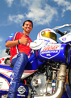 Apr. 29, 2012; Baytown, TX, USA: NHRA pro stock motorcycle rider Hector Arana Jr during the Spring Nationals at Royal Purple Raceway. Mandatory Credit: Mark J. Rebilas-