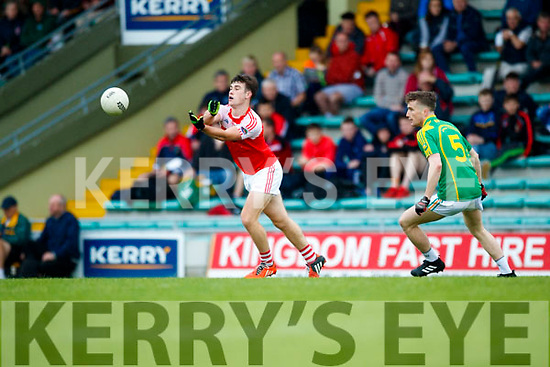 Robert Wharton South Kerry in action against Aidan O'Connor Dingle in the Quarter Final of the Kerry Senior County Championship at Austin Stack Park on Sunday.