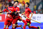 (L-R) <br /> Kenta Tanaka, <br /> Seren Tanaka, <br /> Kazuma Murata (JPN), <br /> SEPTEMBER 1, 2018 - Hockey : <br /> Men's Final match between <br /> Japan 6-6(3-1) Malaysia <br /> at Gelora Bung Karno Hockey Field <br /> during the 2018 Jakarta Palembang Asian Games <br /> in Jakarta, Indonesia. <br /> (Photo by Naoki Nishimura/AFLO SPORT)