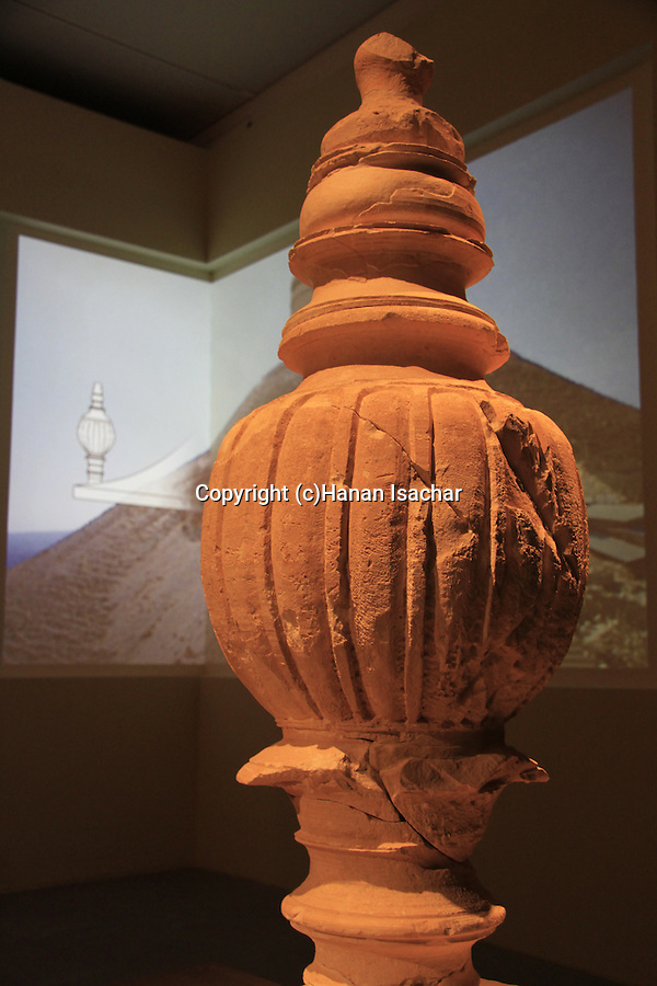 Israel, Jerusalem, an urn from Herod's mausoleum in Herodion on display at the Herod the Great: The King's Final Journey exhibition at the Israel Museum