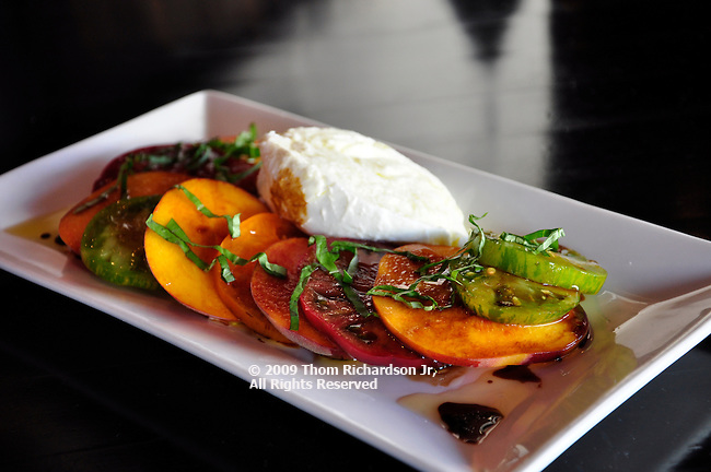 Dish of Tomatoes & Peaches with Cheese, from the CUBE in Hollywood California