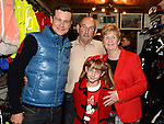 Gay and Kay Howard and their grandaughter Emma Byrne pictured with Fifth overall and a stage winner in the Vuelta a Espana (Tour of Spain) Nicolas Roche when he paid a visit to Quay Cycles Drogheda. Photo:Colin Bell/pressphotos.ie