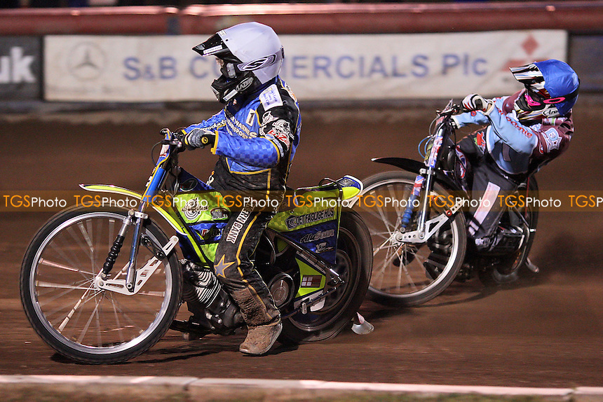 Heat 11: Kenneth Bjerre (white) and Rob Mear - Lakeside Hammers vs King's Lynn Stars - Elite League Speedway at Arena Essex Raceway - 21/05/11 - MANDATORY CREDIT: Gavin Ellis/TGSPHOTO - Self billing applies where appropriate - Tel: 0845 094 6026