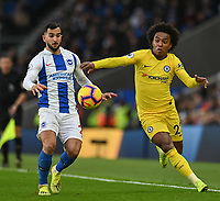 Brighton & Hove Albion's Dale Stephens (left) battles with Chelsea William (right)  <br /> Photographer David Horton/CameraSport<br /> <br /> The Premier League - Brighton and Hove Albion v Chelsea - Sunday 16th December 2018 - The Amex Stadium - Brighton<br /> <br /> World Copyright © 2018 CameraSport. All rights reserved. 43 Linden Ave. Countesthorpe. Leicester. England. LE8 5PG - Tel: +44 (0) 116 277 4147 - admin@camerasport.com - www.camerasport.com