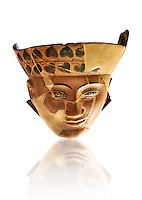 An Etruscan Dinos ( style of vase) with a face, from the Group of Dinoi Campana Ribbon Painter,  540-520 B.C. inv 3784, National Archaeological Museum Florence, Italy, white background