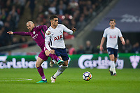 Tottenham Hotspur's Erik Lamela is fouled by Manchester City's David Silva <br /> <br /> Photographer Craig Mercer/CameraSport<br /> <br /> The Premier League - Tottenham Hotspur v Manchester City - Saturday 14th April 2018 - Wembley Stadium - London<br /> <br /> World Copyright &copy; 2018 CameraSport. All rights reserved. 43 Linden Ave. Countesthorpe. Leicester. England. LE8 5PG - Tel: +44 (0) 116 277 4147 - admin@camerasport.com - www.camerasport.com