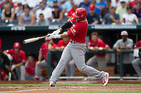 North Carolina State first baseman Tarran Senay (32) swings the bat during Game 3 of the 2013 Men's College World Series between the North Carolina State Wolfpack and North Carolina Tar Heels at TD Ameritrade Park on June 16, 2013 in Omaha, Nebraska. The Wolfpack defeated the Tar Heels 8-1. (Andrew Woolley/Four Seam Images)