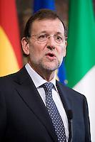 Il primo Ministro Spagnolo Mariano Rajoy durante la conferenza stampa a Palazzo Chigi dopo l'incontro con Mario Monti ..Spanish Prime Minister Mariano Rajoy meets with Italian premier Mario Monti