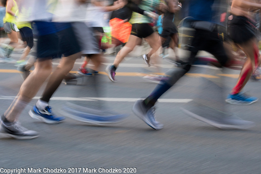 Los Angeles Marathon runners in motion.