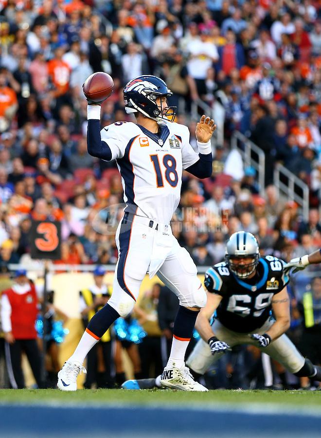 Feb 7, 2016; Santa Clara, CA, USA; Denver Broncos quarterback Peyton Manning (18) against the Carolina Panthers in Super Bowl 50 at Levi's Stadium. Mandatory Credit: Mark J. Rebilas-USA TODAY Sports