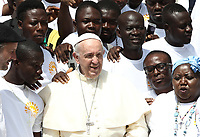 Papa Francesco saluta un gruppo di migranti durante l'udienza generale del mercoledi' in Piazza San Pietro, Citta' del Vaticano, 6 giugno, 2018.<br /> Pope Francis greets a group of faithfullduring his weekly general audience in St. Peter's Square at the Vatican, on June 6, 2018.<br /> UPDATE IMAGES PRESS/Isabella Bonotto<br /> <br /> STRICTLY ONLY FOR EDITORIAL USEUPDATE