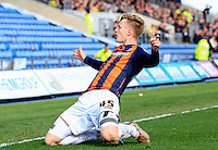 Joe Piggott of Luton Town celebrates his second goal during the Sky Bet League 2 match between Oxford United and Luton Town at the Kassam Stadium, Oxford, England on 16 April 2016. Photo by Liam Smith.