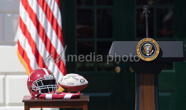 Ceremonial presentation helmet and football are on display at the welcoming ceremony of the 2017 NCAA Football National Champions: The Alabama Crimson Tide to the White House in Washington, DC, March 10, 2018. Photo Credit: Chris Kleponis/CNP/AdMedia