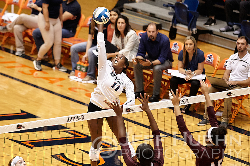 SAN ANTONIO, TX - SEPTEMBER 11, 2018: The University of Texas at San Antonio Roadrunners fall to the Texas State University Bobcats 3-0 (22-25, 29-31, 22-25) at the UTSA Convocation Center. (Photo by Jeff Huehn)