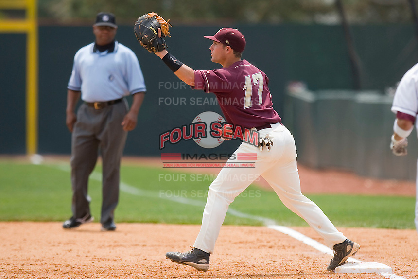 First baseman Mickey Wiswall #17 of the Boston College Eagles stretches for a throw against the Virginia Tech Hokies at English Stadium May 2, 2010, in Blacksburg, Virginia.  Photo by Brian Westerholt / Four Seam Images