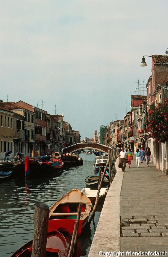 Venice:  Island of Murano--canal and sidewalk.  Photo '83.