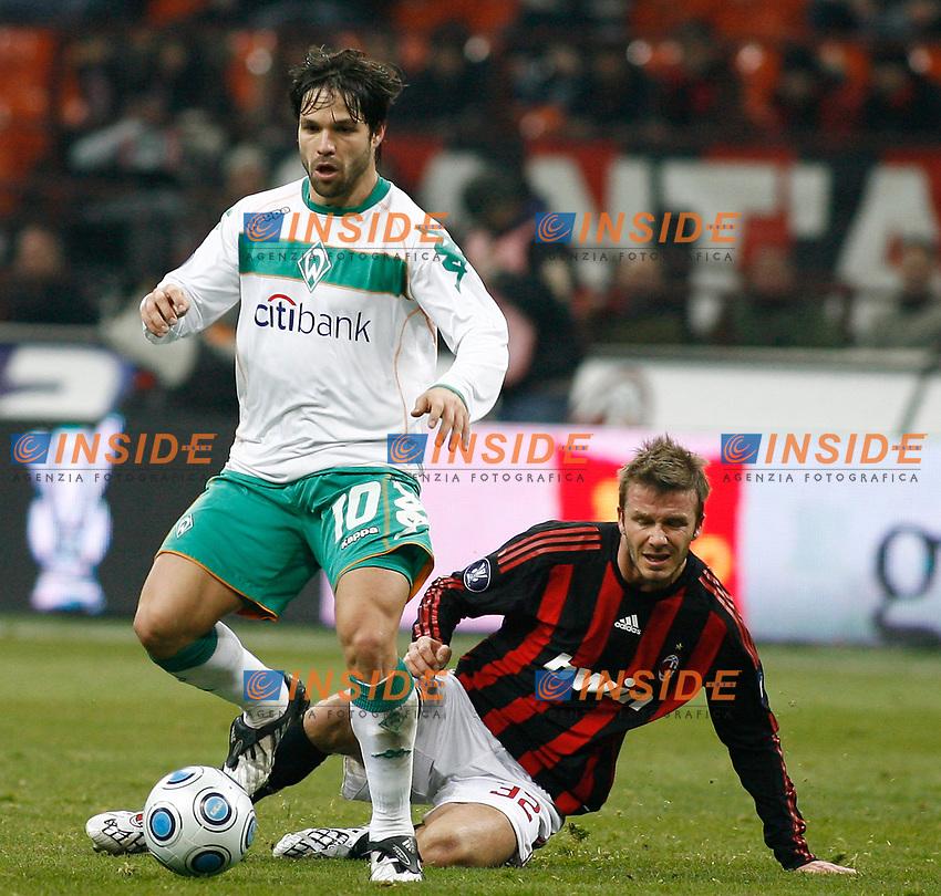 Milan vs Werder Brema - Uefa Cup -26-02-2009 Milano SPORT CALCIO - nella foto :  DIEGO E BECKHAM - Foto Celeste/Insidefoto
