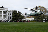 Marine One helicopter with U.S. President Donald Trump, France's president Emmanuel Macron and First Ladies Melania Trump and Brigitte Macron on board departs on the South Lawn of the White House in Washington, D.C., U.S., on Monday, April 23, 2018. As Macron arrives for the first state visit of Trump's presidency, the U.S. leader is threatening to upend the global trading system with tariffs on China, maybe Europe too. <br /> Credit: Yuri Gripas / Pool via CNP