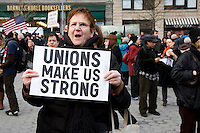 The Defend the American Dream event held in Union Square Park in New York City, New York on 15 March 2011.  The rally was held in support of Wisconsin and in an effort to stand up to Republicans in Congress, who are putting forward a budget that gives tax breaks to corporations and millionaires, and slashes funding for education, emergency response, research, and vital human services.