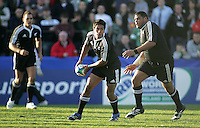 New Zealand U19 outhalf Trent Renata moves the ball wide against Wales at Ravenhill. Result New Zealand 37 Wales 14.