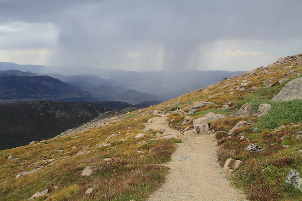 Front Range Mountains during a thunderstorm and the Flattop Mountain Trail in Rocky Mountain National Park, west of Estes Park, Colorado. .  John leads hikes and private photo tours in Boulder and throughout Colorado. Year-round.